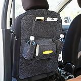 Elaco Auto Car Back Seat Boot Organizer Car Covers Back Seat Organizer Multi-Pocket Storage Container Bag (Dark Gray)