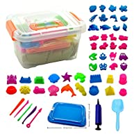 Kinetic Sand Kit with Inflatable Tray, 46 Molds, 5 Tools, Inflator, Shovel and Storage Box, 2-1/5 lb Beige Sand