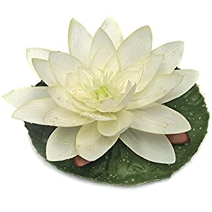 "7"" Silk Lotus w/Waterdrop Floating Flower -Cream/White (Pack of 12) 11"