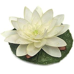 """7"""" Silk Lotus w/Waterdrop Floating Flower -Cream/White (Pack of 12) 69"""