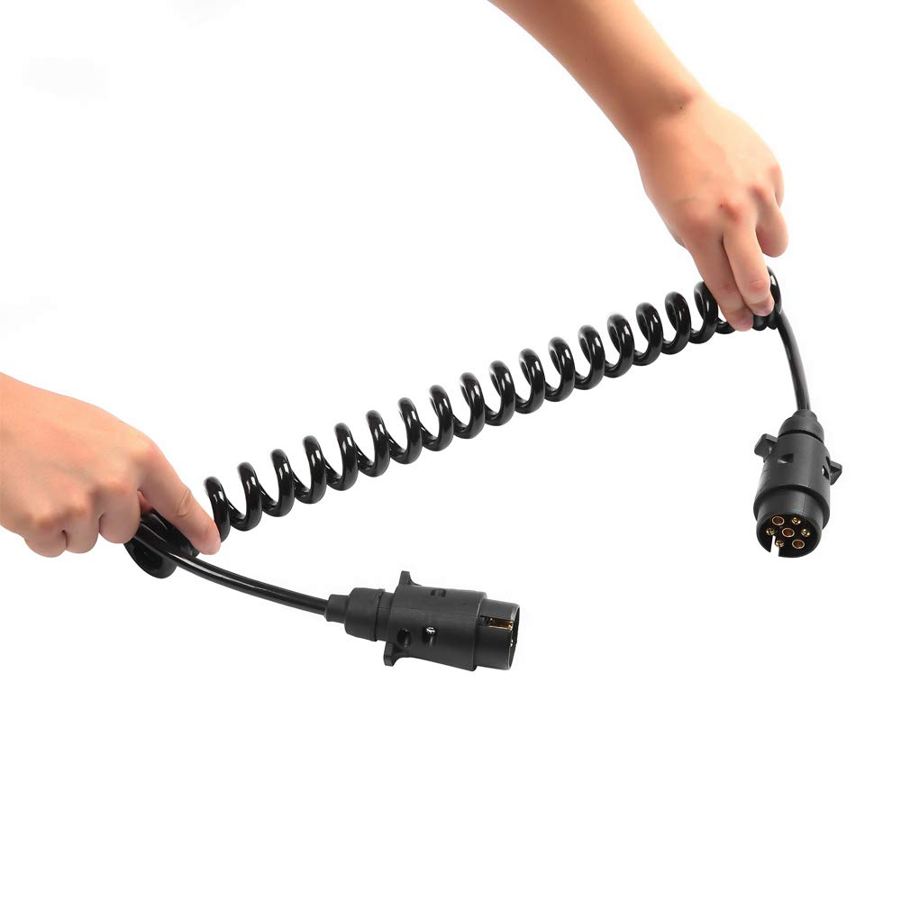 Anh/ängerkabel 7 Polig Aluminiumlegierung Anh/änger Stecker Steckdose,12V Anh/änger Verl/ängerungskabel Spiralkabel Adapter 2,5 Meter F/ür Anh/änger//LKW//RV//Cars ETUKER Anh/änger Verl/ängerungskabel 7 Polig