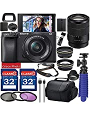 $1299 » Sony Alpha a6400 Mirrorless Digital Camera with 18-135mm Lens (Black ILCE-6400M/B) Bundle with Accessory Package Including 64GB Memory, Spider Vlog Tripod & More (20 Pieces)