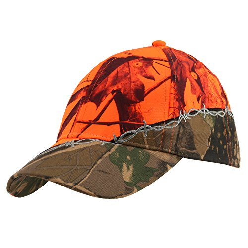 Camo Hunting Cap - GearOZ Camo Blaze Orange Outdoor Cap For Fishing,Hiking,Camping,Big Game Hunting Deer,Bear