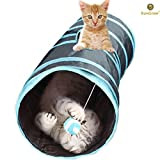 Collapsible Cat Tunnel - Interactive Play Toy with Peep Hole and Crinkle Ball - For Hiding - Hunting and Resting - Confidence Booster & Health enhancer - Ideal for Multi-cat and Independent Play