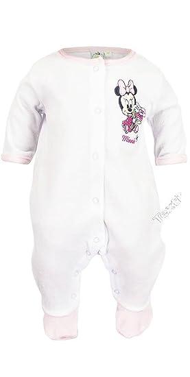 f4aa6045274de Pyjama velours naissance fille Baby Minnie Blanc et Rose de 0 à 3mois (3  mois