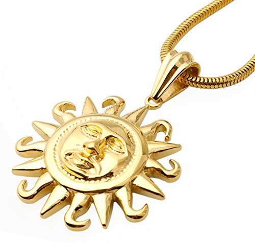 Epinki Men's Stainless Steel Retro Punk Style Sun God Pendant Gold Necklace