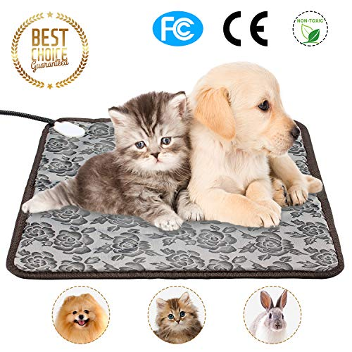 Pet Heating Pad for Dogs & Cats Electric Heated Blanket Indoor Waterproof Winter Puppy Kitty Warming Beds Mat with Chew Resistant Steel Cord, Size 18