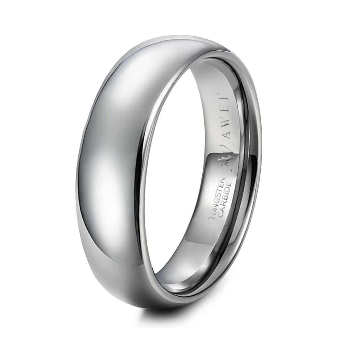 AWEI Wide 8mm Tungsten Ring Band Silver Comfort Fit Classic Wedding Dome Polished Size 5-15