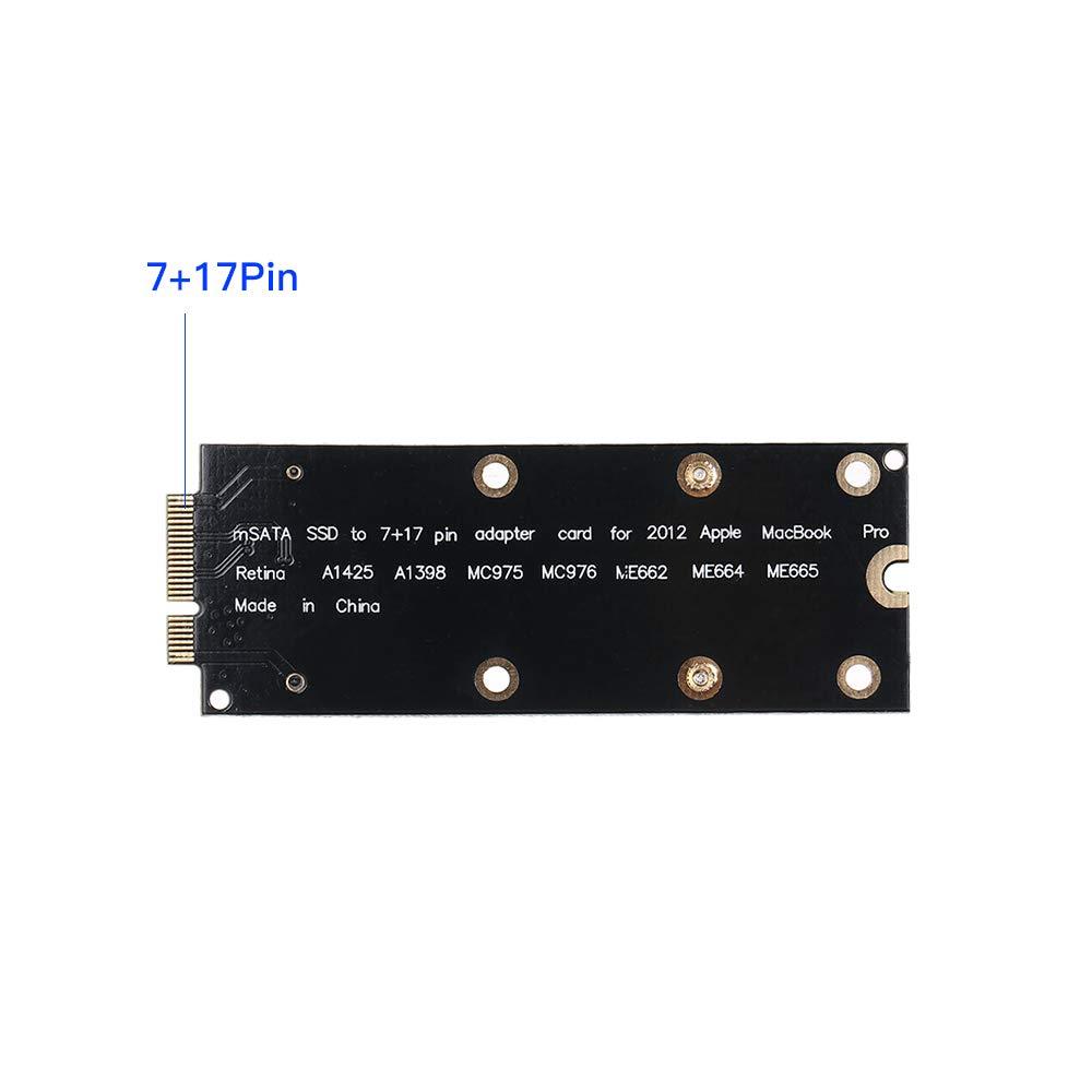 Grborn Tarjeta adaptadora mSATA SSD a 7 + 17Pin para Apple Macbook ...