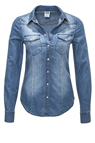 Vero Moda Damen Jeansbluse Langarmbluse Denim Used-Look (L, Blau/Denim)