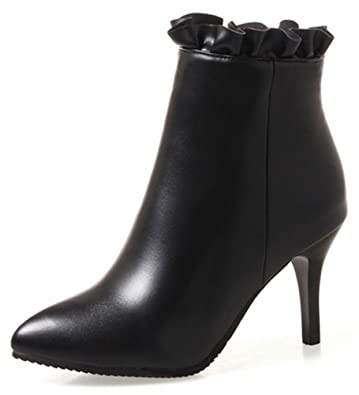 Women's Sexy Laciness Inside Zip Up Dressy Pointed Toe Booties High Stiletto Heel Ankle Boots