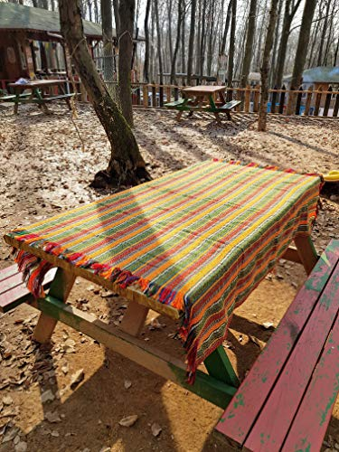 Secret Sea Collection Bohemian Multicolor Striped Cotton Square Tablecloth, Picnic Outdoor Blanket, Throw, Washable, Reversible, Design: Happy Summer Days (55