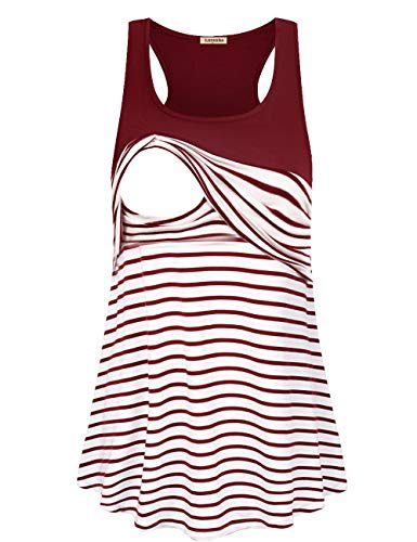 Women's Casual Tank Top Round Neck Color Block Striped Maternity Nursing T-Shirt Blouse Double Layered Tops Pregnancy Nursing Outfits for Women (Wine, Small)