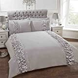 RUCHED VERTICAL BANDS SEQUINS GREY COTTON BLEND CANADIAN QUEEN SIZE (230CM X 220CM - UK KING SIZE) DUVET COMFORTER COVER