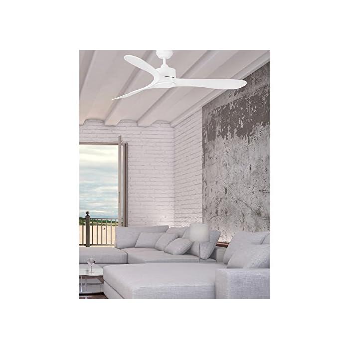 LUZON es un ventilador de techo para estancias de más de 17,6m2. Dispone de 3 velocidades regulables con un consumo de 23-42-65W y 90-120-155 revoluciones por minuto según velocidad. Luzon es apto para techos inclinados. Incluye dos tijas.