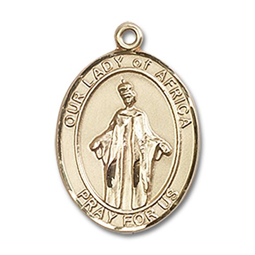 14kt Yellow Gold Our Lady of Africa Medal 3/4 x 1/2 inches by Bonyak Jewelry