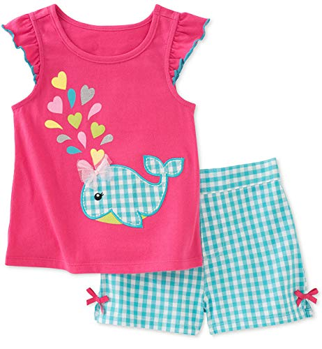 Bumeex Toddler Girl Summer Outfit Clothes Cotton Whale Print Top and Shorts Clothing Set Size 7 Raspberry