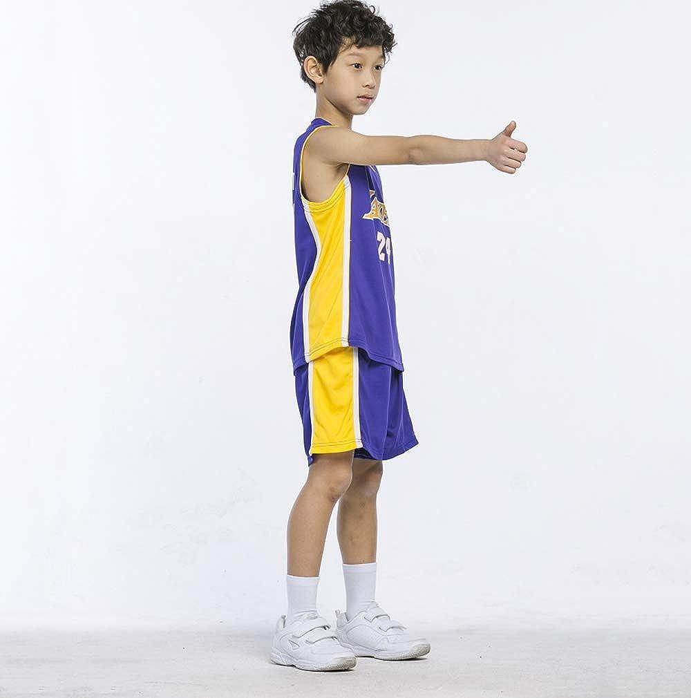 Abbigliamento Sportivo per Bambini LJWLCH No.24 per Kobe Bryant Maglia per Abbigliamento da Basket Maglia Estiva per Ragazzi Ragazze Pantaloncini Tuta Felpa Viola