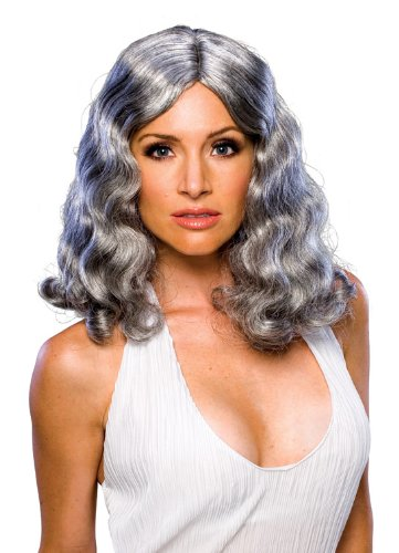 Old Lady Hair Costume (Rubie's Costume Mid-Length Flowing Wig, Grey, One Size)