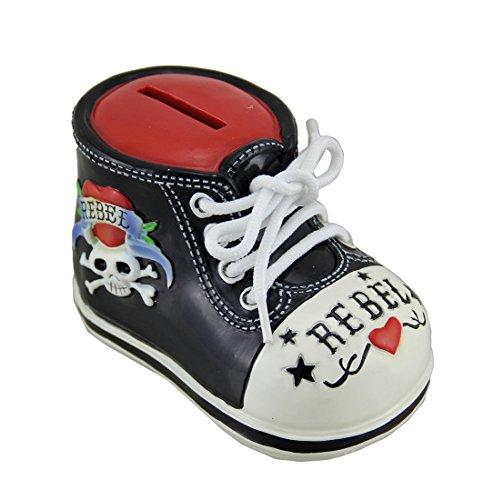 Rockabilly Rebel Tattoo Skull Baby Bootie Shoe Money Bank from Westland Gifts