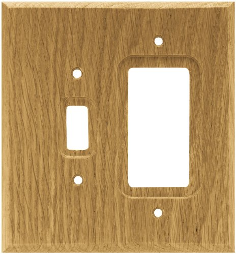 Brainerd 64679 Wood Square Single Toggle Switch/Decorator Wall Plate/Switch Plate/Cover, Medium Oak by Brainerd