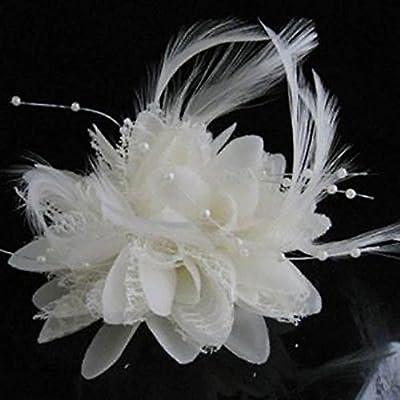 CHoppyWAVE Crystal Wedding Tiara for Bride,Fashion Flower Feather Bead Corsage Hairband Pin Wedding Headwear Decor Gift