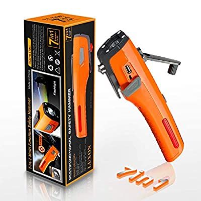 LUXON Emergency Tool 7-in-1 Car Safety Tool Includes Window Breaker Seat Belt Cutter LED Flashlight Rescue Tool Contains USB Charger SOS Light & Hand Cranking Charge for Vehicle Escape/Field Survival from ZH Electronic Co., Ltd