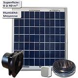 Kit de ventilation solaire 5W 12V - VMC - Extracteur 100m3/h
