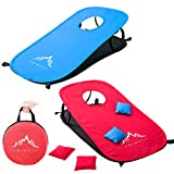 corn bag toss game - Himal Collapsible Portable Corn Hole Boards With 10 Cornhole Bean Bags And Tic Tac Toe Game 2 Games on 1 Board,Blue-Red(2 x 1-feet)