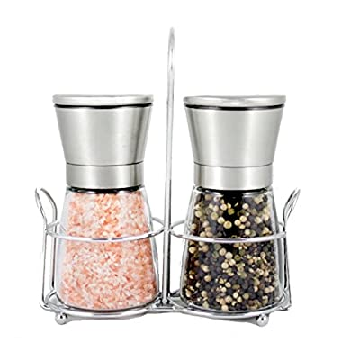 Stainless Steel Salt & Pepper Grinder Set with Stand - Adjustable Ceramic Rotor | Glass Body | Stainless Steel Stand | Salt Mill and Pepper Mill | Kitchen Tool