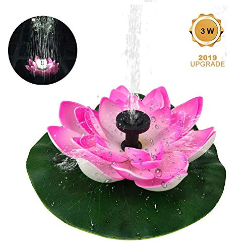 Lotus LED Solar Birdbath Fountain Pump,3W Solar Fountain Water Pump Solar Panel Kit Submersible Water Pump with 6 LED Lights for Pool Pond Garden Fish Tank Aquarium