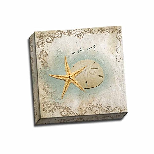 in-The-Surf-12x12-Stretched-Canvas-Coastal-Art-Print-Decorative-Nature-Beach-Decor-Starfish-Sand-Dollar-Wall-Hanging