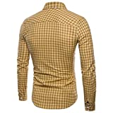 Fashion Lattice Printing Slim Man Long Sleeved Shirt
