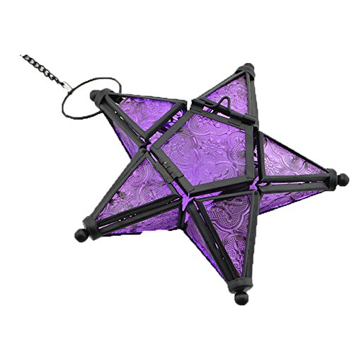 Stunning Star Glass Votive Tea Light Candle Holder Hanging Lighting Lantern Wedding Birthday Party Home Garden Decoration (Purple) - Hanging Votive Lanterns