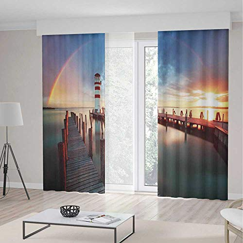 TecBillion Window Blackout Curtains TT02 Lighthouse Decor for Bedroom Living Dining Room Kids Youth Room Sunset at Seaside with Wooden Docks 2 Panel Set 157W x 94LInches ()