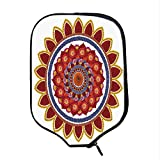 YOLIYANA Red Mandala Durable Racket Cover,Round Figure with Leaves and Summer Meadow Daisies Sunflowers Colorful Joyous Decorative for Sandbeach,One Size