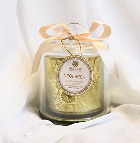Lime Blossom Soy Wax Candle - M&SENSE Luxury Floral Scented Soy Wax Candles by With Glass Cover | Wonderful Gift | Aromatherapy Grade Fragrance Oils Made (Lime Blossom & Vanilla)