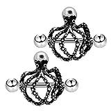 COCHARM 2PCS 14G Nipple Ring 316L Stainless Steel Octopus Nipple Piercing Burnish Silver Nipple Bar Nipple Barbell
