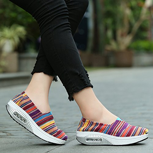 Lz-5122meihongtiaowen36 Enllerviid Piattaforma Da Donna Slip On Sneakers In Tela A Righe Comfort Fitness Work Out Scarpe Da Passeggio Rose / Stripe 5.5 B (m) Us
