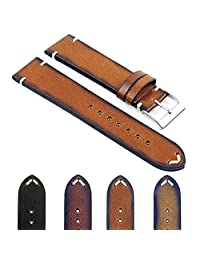 DASSARI Regal Vintage Italian Leather Watch Strap with Hand Sewn Stitching in Tan 19mm