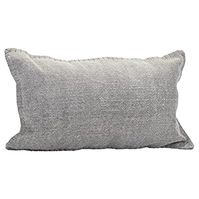 Solid Dhurrie Light Gray 20 x 12 Indoor Outdoor Throw Pillow - Proudly filled and finished in the USA; Made of 100% high quality Polyester fiber materials Throw pillow measures approximately 20 x 12 inches finished seam to finished seam; Includes pillow form Rich colors and pattern design is weather and fade resistant up to 500 hours of direct sunlight; For longer life cover or store when not in use - patio, outdoor-throw-pillows, outdoor-decor - 511HYZ2TLJL. SS400  -