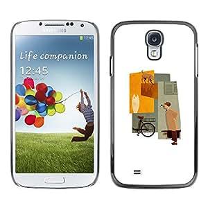FECELL CITY // Duro Aluminio Pegatina PC Caso decorativo Funda Carcasa de Protección para Samsung Galaxy S4 I9500 // Minimalist Pastel Lady Beige