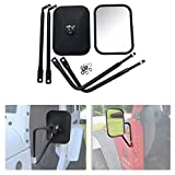 Bentolin Shake-proof Road Rectangular Adventure Mirrors Doorless Rear view Mirrors, Bolt-on Door Hinge Side view Mirrors Fit All Jeep Wrangler JK JKU CJ YJ - 1 Pair