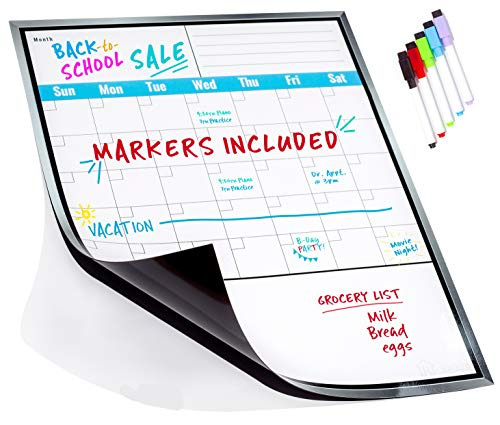 Large Dry Erase Monthly Magnetic Calendar Set for Refrigerator, Magnetic White Board and Fridge Calendar, 5 Multi-Color Markers with Magnets Included