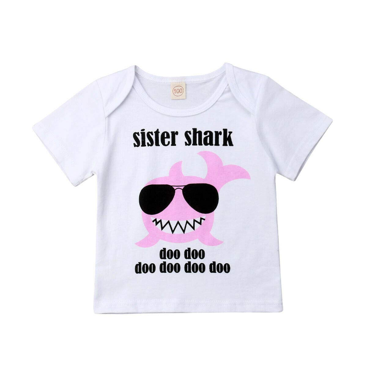 Baby Toddlers Boys Girls Baby Shark Clothes Big Sister Shark Top Tees Lil Brother Romper Matching Outfits