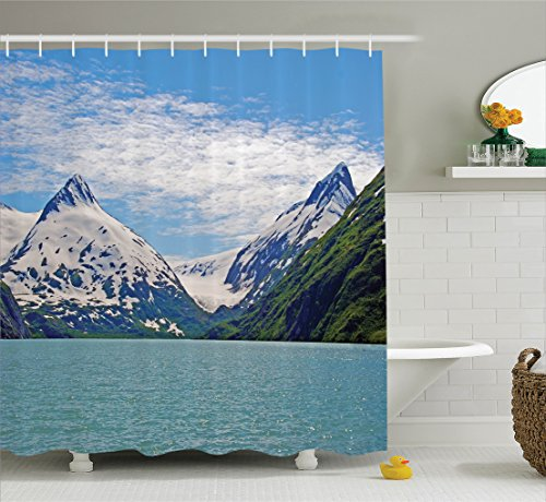 Ambesonne Lake House Decor Collection, Mountain and Lake in Anchorage Alaska Springtime Sunny Day Scenic View Picture, Polyester Fabric Bathroom Shower Curtain Set with Hooks, White Green - In Anchorage Women