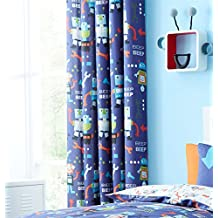 "ROBOTS SPANNERS SPOTS BLUE WHITE 66"" X 72"" - 168CM X 183CM RING TOP CURTAINS DRAPES"