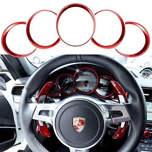 2015 Porsche Carrera - Xotic Tech 5pcs ABS Anodized Dashboard Meter Ring Instrument Frame Trim Covers for Porsche Cayenne 958 2011-2018 Panamera 976 2010-2016 Porsche 911 991 2013-2018 Red
