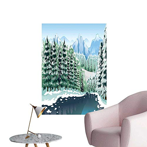 Forest Stickers Wall Murals Decals Removable Wildwood in Winter Season with Snowy Mountains and Frozen River Cartoon Style Men's Room Wall Green Blue White W16 x H20
