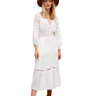 d2aa0fff318 White Cotton Peasant Dress Bohemian Long Sleeve Front Buttons Spring Dress  (Small)